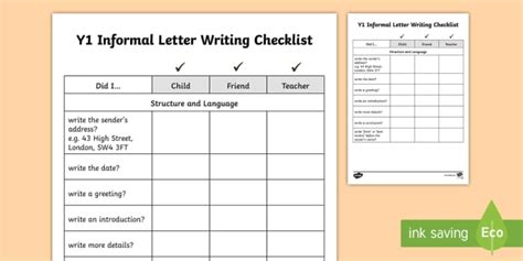 informal letter template twinkl year 1 informal letter writing checklist letters checklist