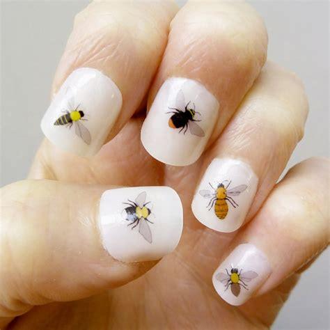Handmade Nail Designs - bee nail transfers handmade illustrated nail decals