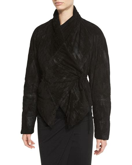 Padded Tie Front Jacket zen padded suede wrap front jacket black