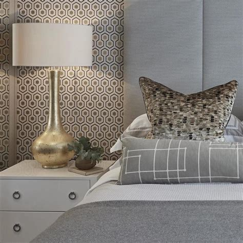 gray bedroom  gold leaf lamp contemporary bedroom