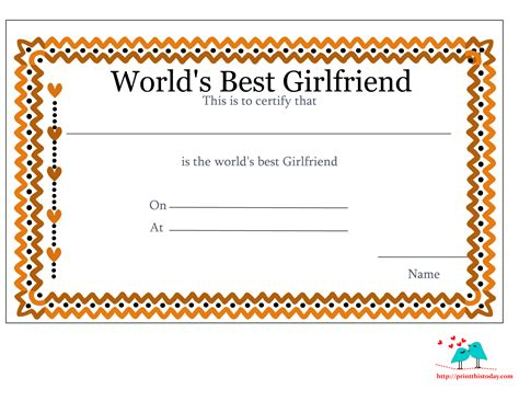 worlds best free printable world s best girlfriend certificates