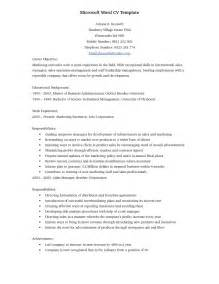 Curriculum Vitae Templates Word by Curriculum Vitae Template Microsoft Word Resume Cover