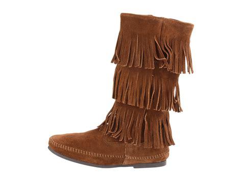 minnetonka boots for minnetonka calf hi 3 layer fringe boot zappos free