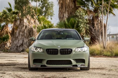 green bmw a military green bmw f10 m5 with vorsteiner aero parts and