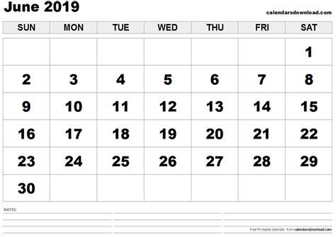 Calendar 2019 June June 2019 Calendar