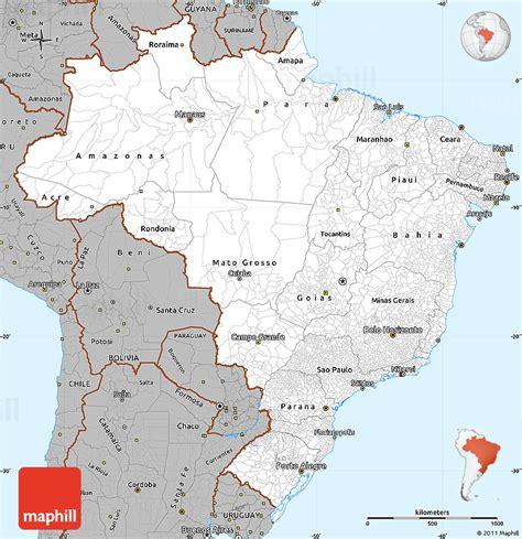 gray simple map  brazil