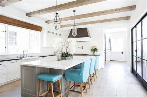 Island For Kitchen With Stools Gray Kitchen Island With Turquoise Blue Counter Stools Transitional Kitchen