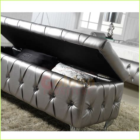 silver storage ottoman new leather silver color storage ottoman view storage