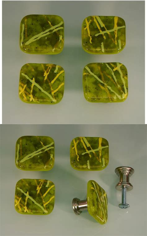 decorative colored fused glass cabinet door knobs