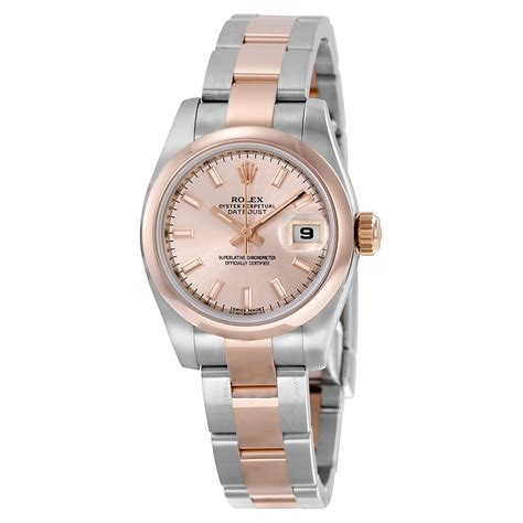 rolex datejust pink steel and 18k gold
