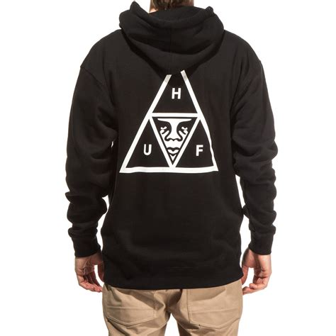 Hoddie Jaket Skate Huf huf x obey triangle pullover hoodie black