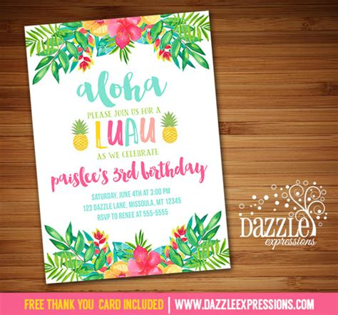 free printable luau thank you cards printable luau birthday invitation tropical watercolor