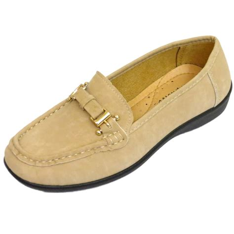Womens Beige Comfort Shoes Comfy Work Casual Slip On Flat