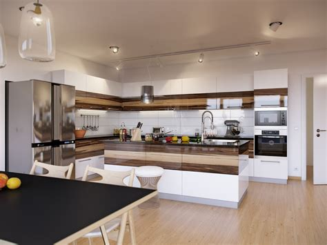 Interior Decoration In Kitchen Walnut And White Gloss Kitchen Interior Design Ideas