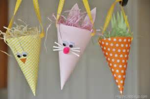 diy paper easter bunny chick carrot cones
