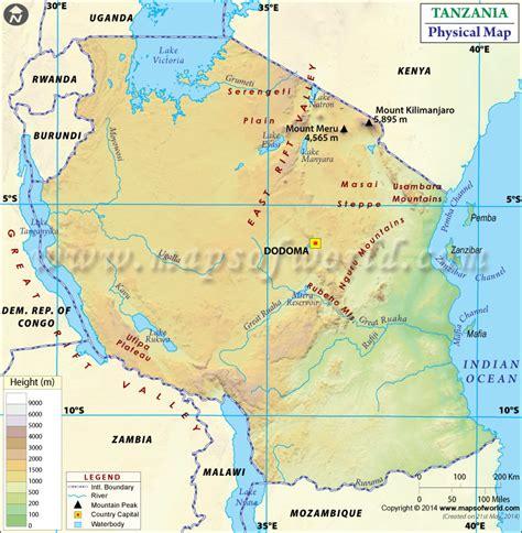 physical map of tanzania physical map of tanzania