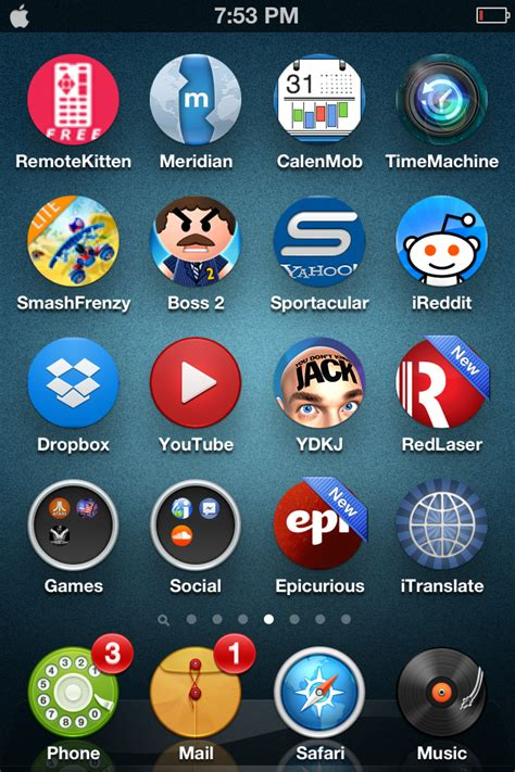 themes for iphone apps get circular icons with circles for iphone theme review