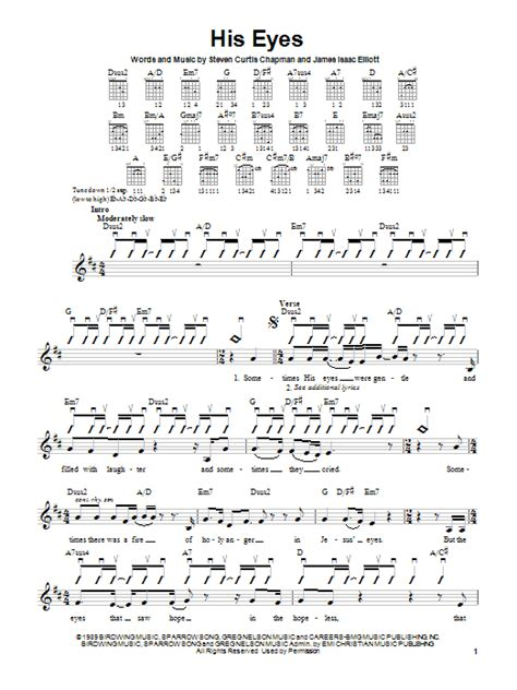 strumming pattern for blue eyes crying in the rain his eyes sheet music by steven curtis chapman guitar with