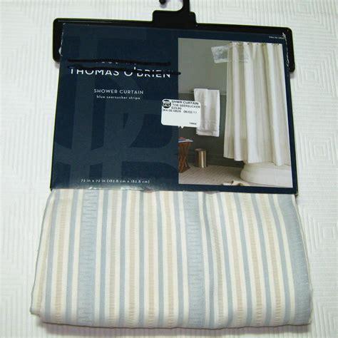 thomas o brien curtains thomas o brien shower curtain seersucker light blue gray