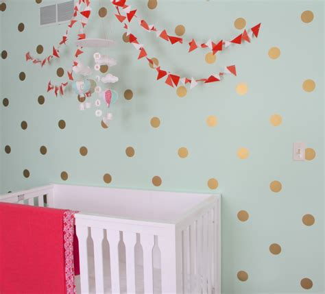 gold dot wall decals mint coral and gold nursery polka dot walls wall