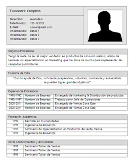 Modelo Curriculum Vitae Bolivia Plantilla De Curriculum Vitae Ii Eficiente Trabajopolis Bo