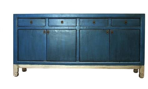 Anatole Blue And Silver 4 Door 4 Drawer Tall Sideboard Asian Sideboards And Buffets