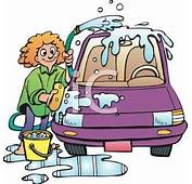 A Woman Washing Her Car With Hose And Bucket Of Suds