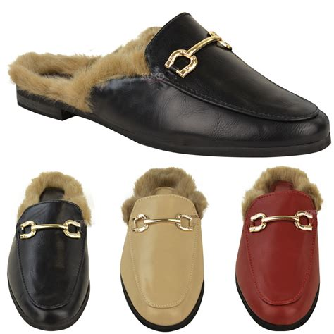 womens shearling faux fur lined sliders shoes