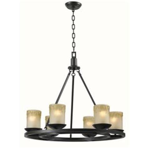 World Imports Colchester 6 Lights Wagon Wheel Chandelier Candle Chandelier Home Depot