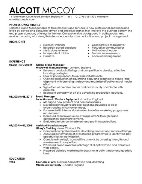 beautiful resume format for marketing profile best brand manager resume exle livecareer