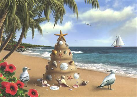 holiday  paradise  card envelope warm weather tropical christmas card  curiosities