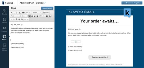 Klaviyo Launches Abandoned Carts Features For Ecommerce Stores Abandoned Cart Email Template Shopify