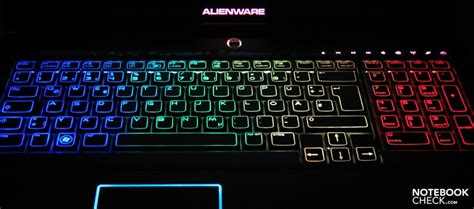 rainbow light up keyboard review alienware m17x gaming notebook notebookcheck