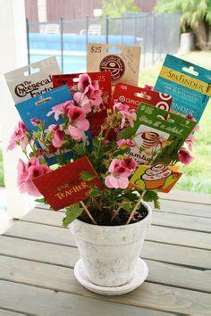 Gift Card Arrangement Ideas - gift card tree for teacher appreciation arrangement of gift cards in flower pot