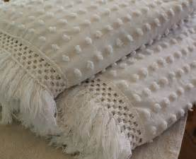 Pair of twin vintage chenille bedspreads beach by catnapcottage