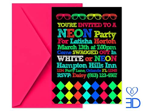 neon party invitations template best template collection