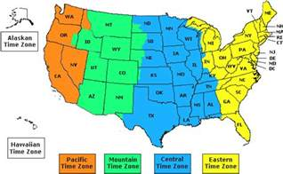 time zone map for america us time zones