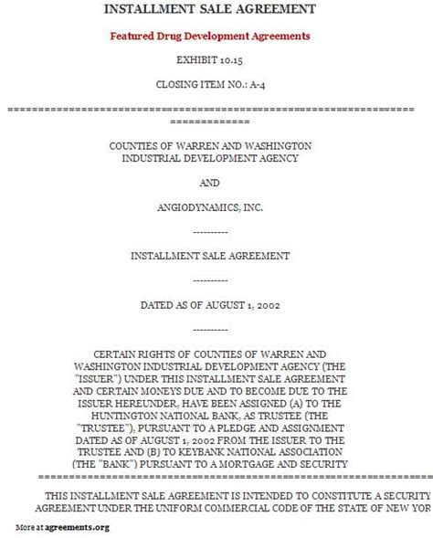 installment sale agreement template 10 best images of installment loan agreement template
