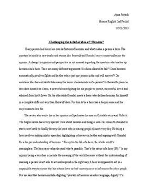 Grendel Essay by Essay 252 Ber Helden Und Heldentum Grendel Und Beowulf Schulhilfe De