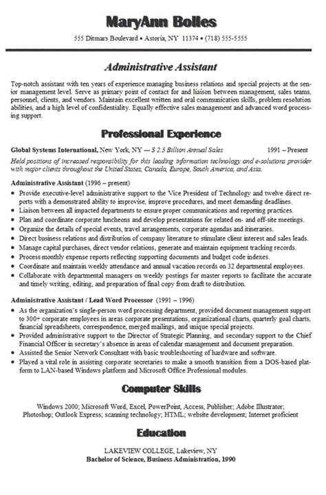 administrative assistant resume or executive assistant resume