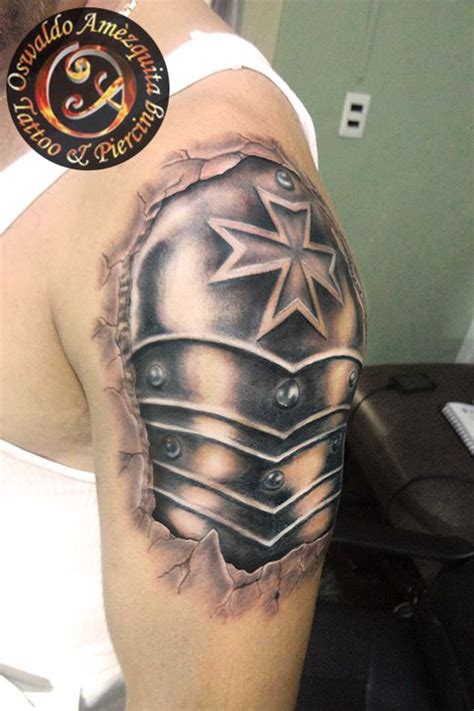 shoulder shield tattoo armor realistic tatuaje armadura viking