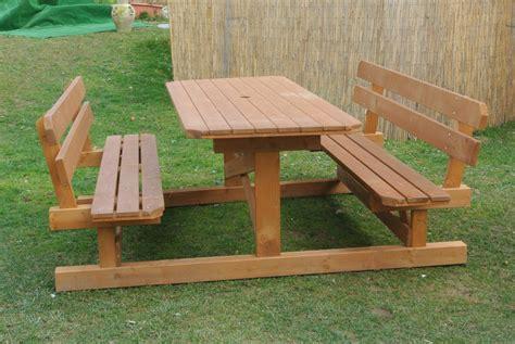 panche da giardino in legno tavoli da giardino in legno con panca mobilia la tua casa