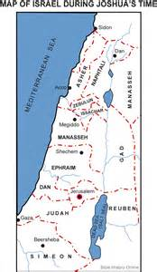 joshua map map of israel during joshua s time bible history