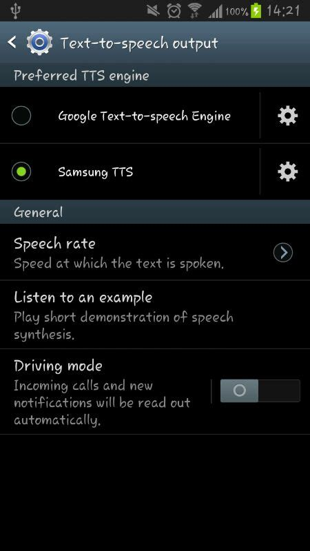 android problems  tts  samsung galaxy  stack