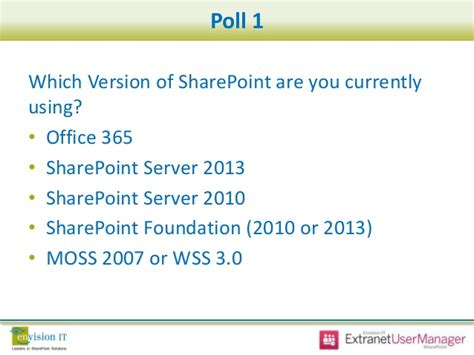 sharepoint server 2013 extranet and office 365 external envision it sharepoint extranet webinar series