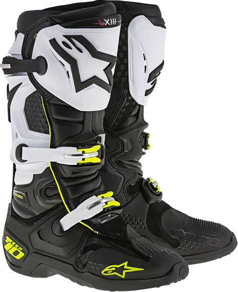 white motocross boots mens alpinestars motocross offroad mx tech 10 boots black