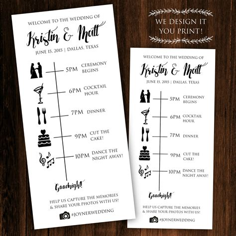 Wedding Details Card Template Timeline by Printable Wedding Timeline Printable Wedding Itinerary