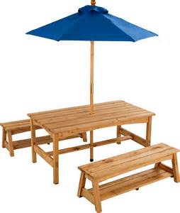 Patio Table Set With Umbrella Kidkraft Table Benches With Blue Umbrella With Free Shipping