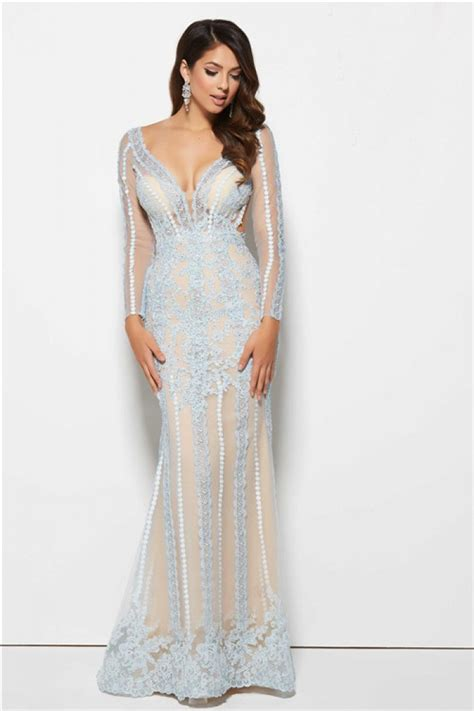 long sleeve lace prom dresses mermaid v neck backless long sleeve light blue lace