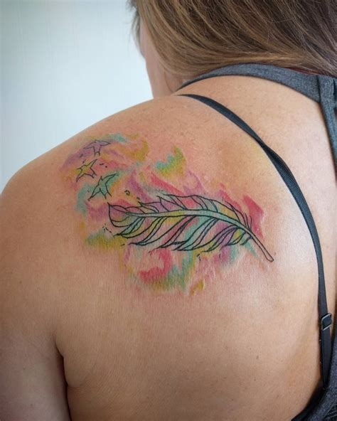 tattoo hours shoulder feather tattoo on back shoulder www imgkid com the